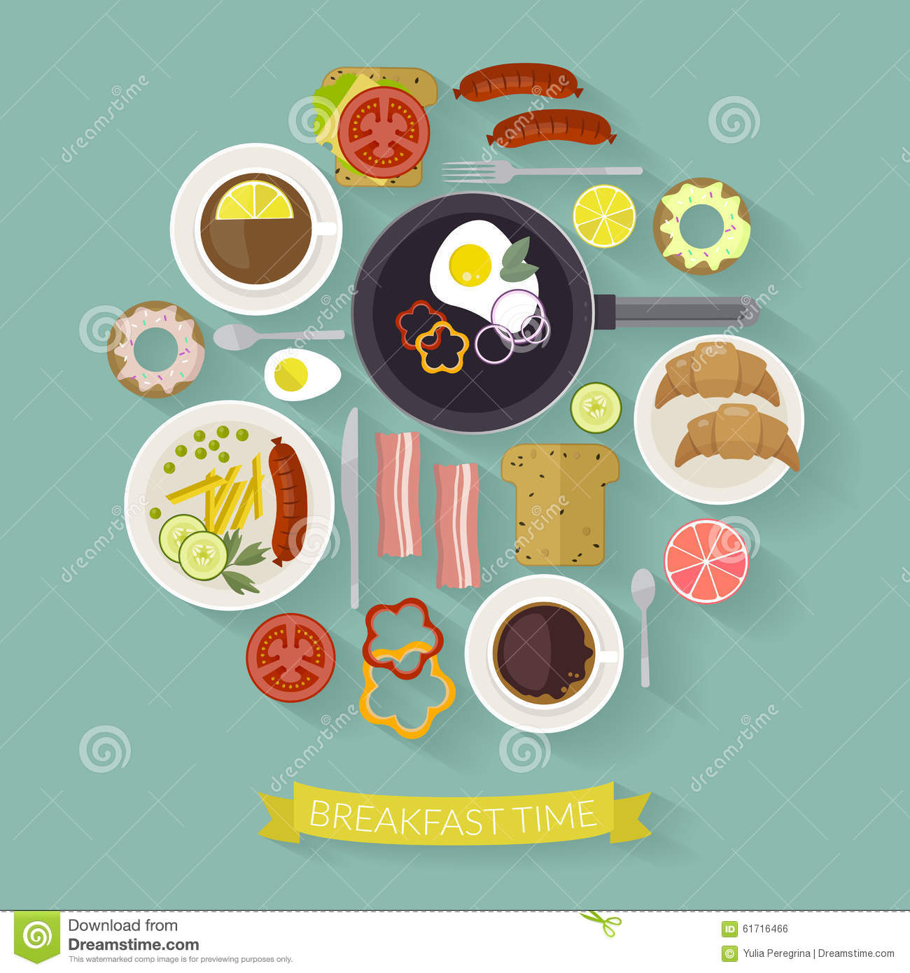 Vector Breakfast Time Illustration With Flat Icons Fresh