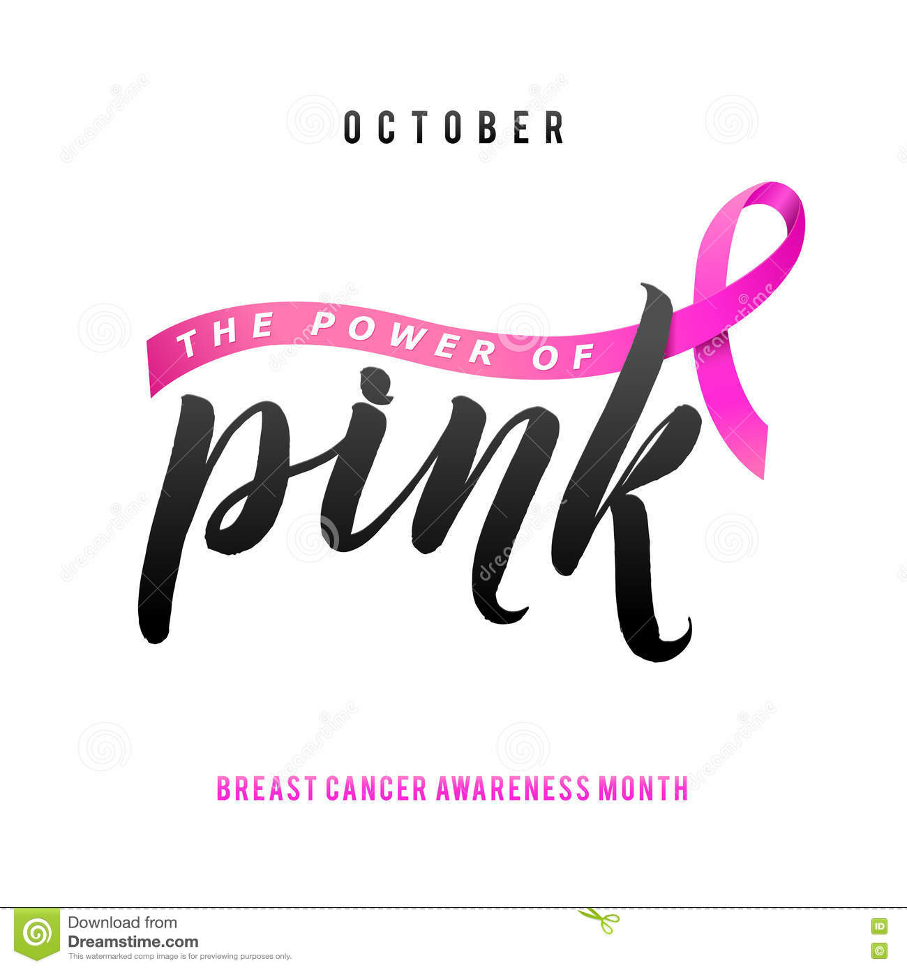 Vector breast cancer awareness calligraphy poster design