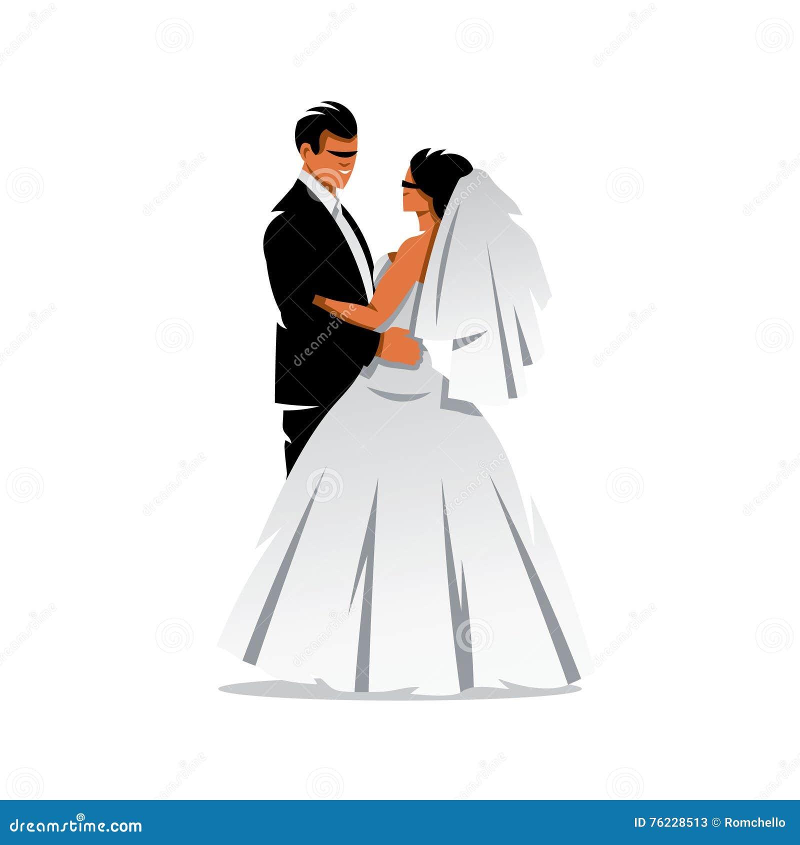 Vector Bride And Groom Cartoon Illustration. Cartoon ...