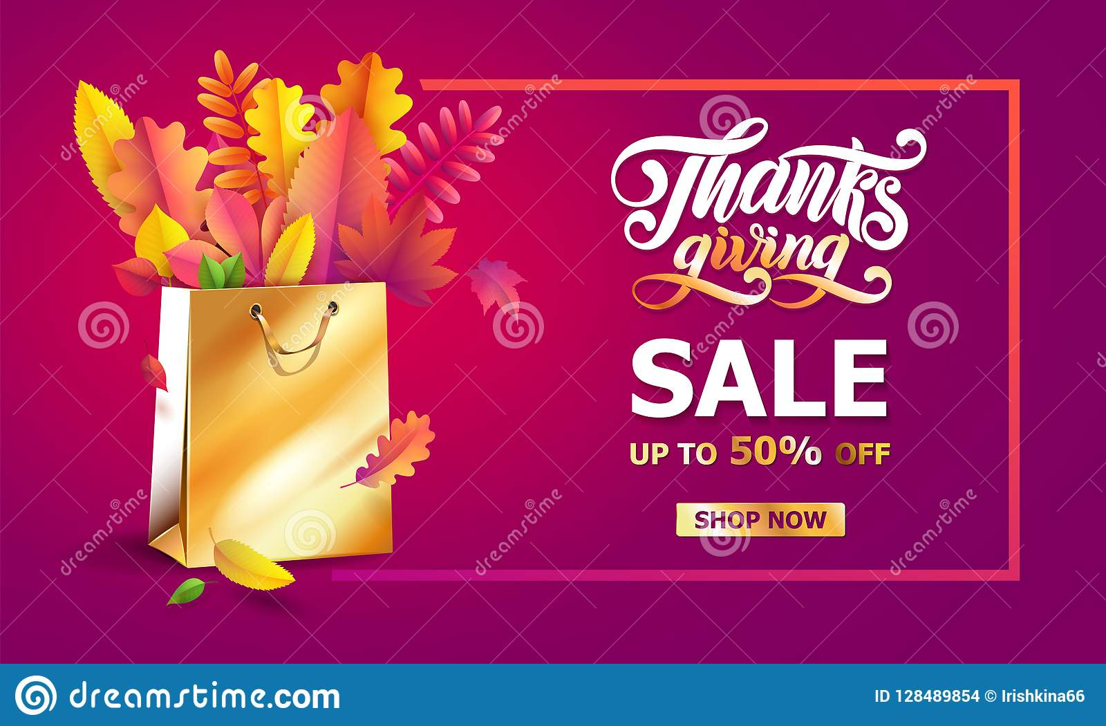 Vector bright bouquet of autumn fallen leaves in golden gift paper shopping bag. Thanksgiving hand drawn lettering text