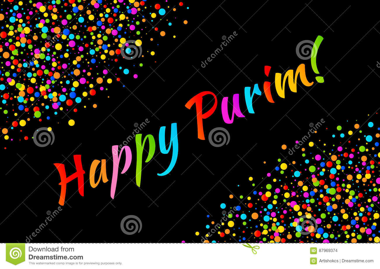 Vector Bright Card Happy Purim carnival text with colorful shiny paper confetti frame isolated on black background.