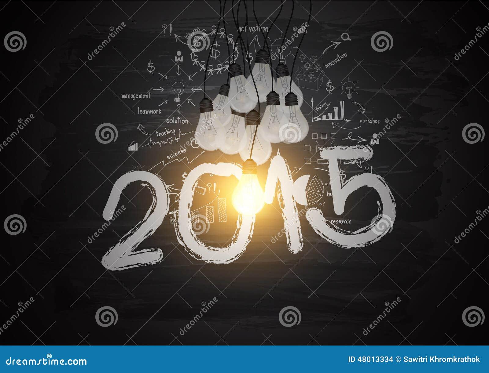 Bright light bulb illuminate the number 2015 on blackboard with