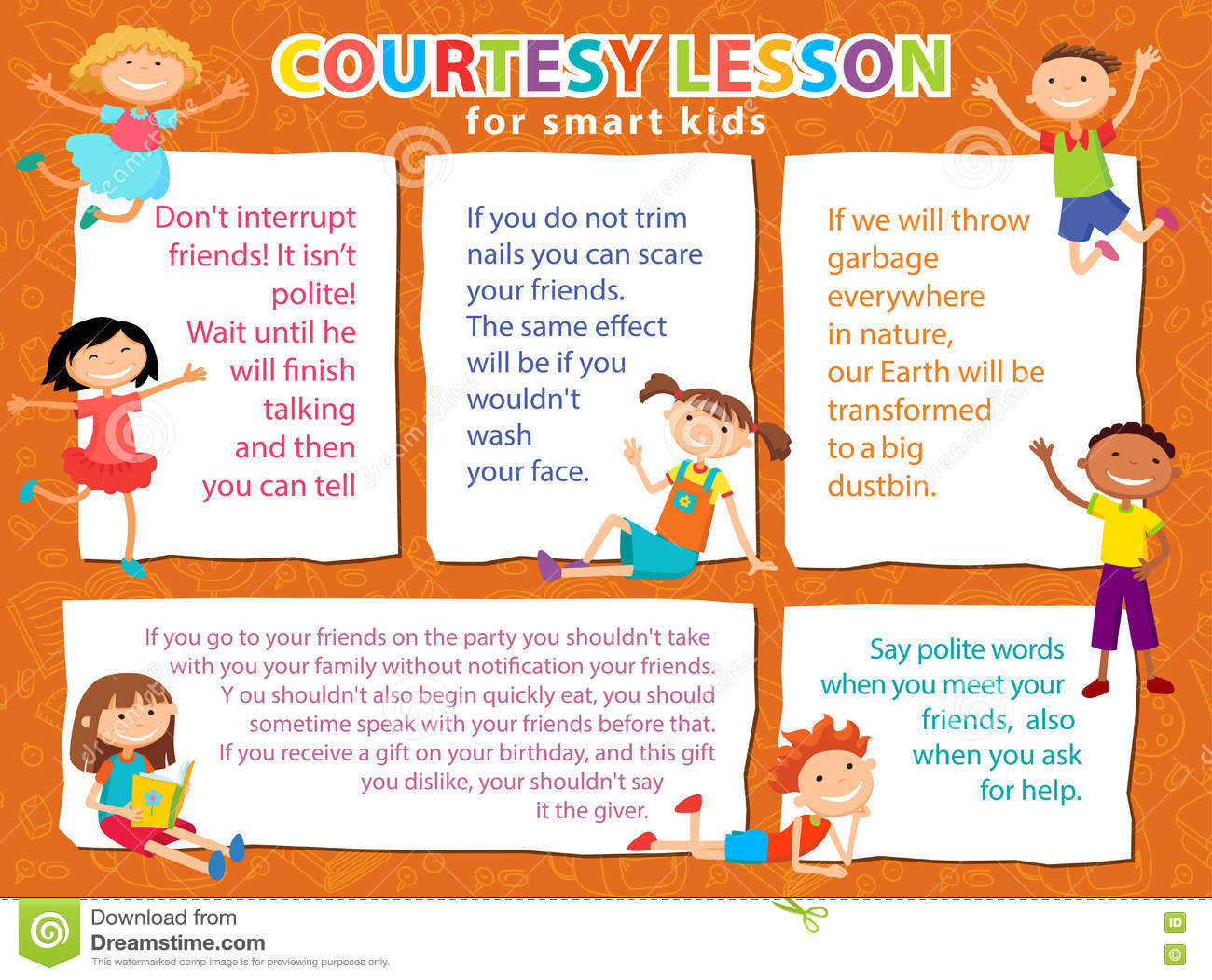 Vector brochure backgrounds with cartoon children for Kids brochure template