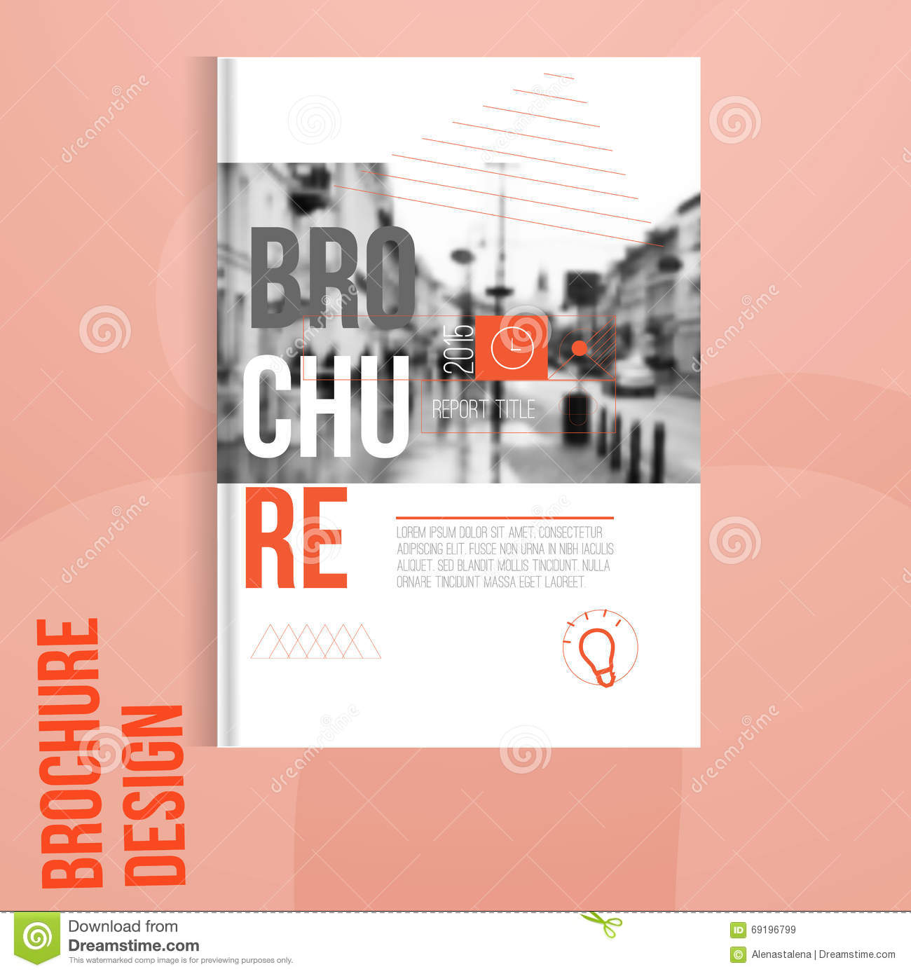 Vector brochure cover template with blured city landscape for Brochure cover designs