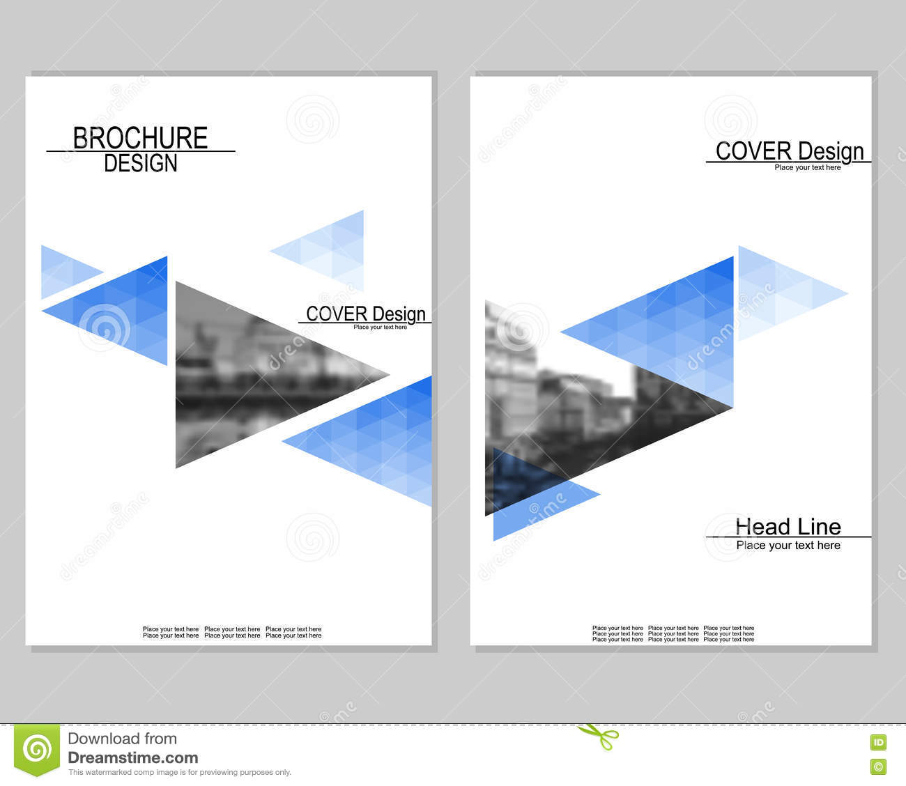 Vector brochure cover templates with blurred cityscape for Brochure cover design