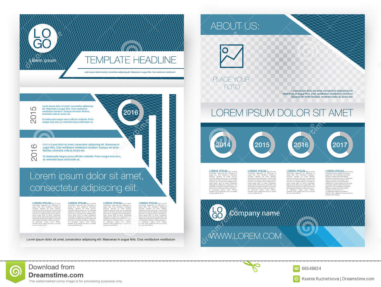 Vector Brochure Design Template Front Page And Back Page - Presentation cover page template
