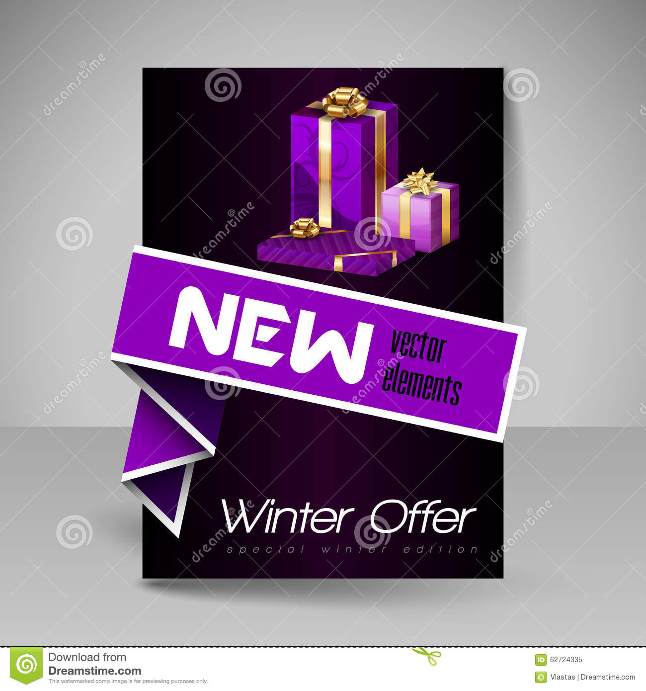 Vector Brochure Design Template With Purple Christmas Gifts. Stock ...