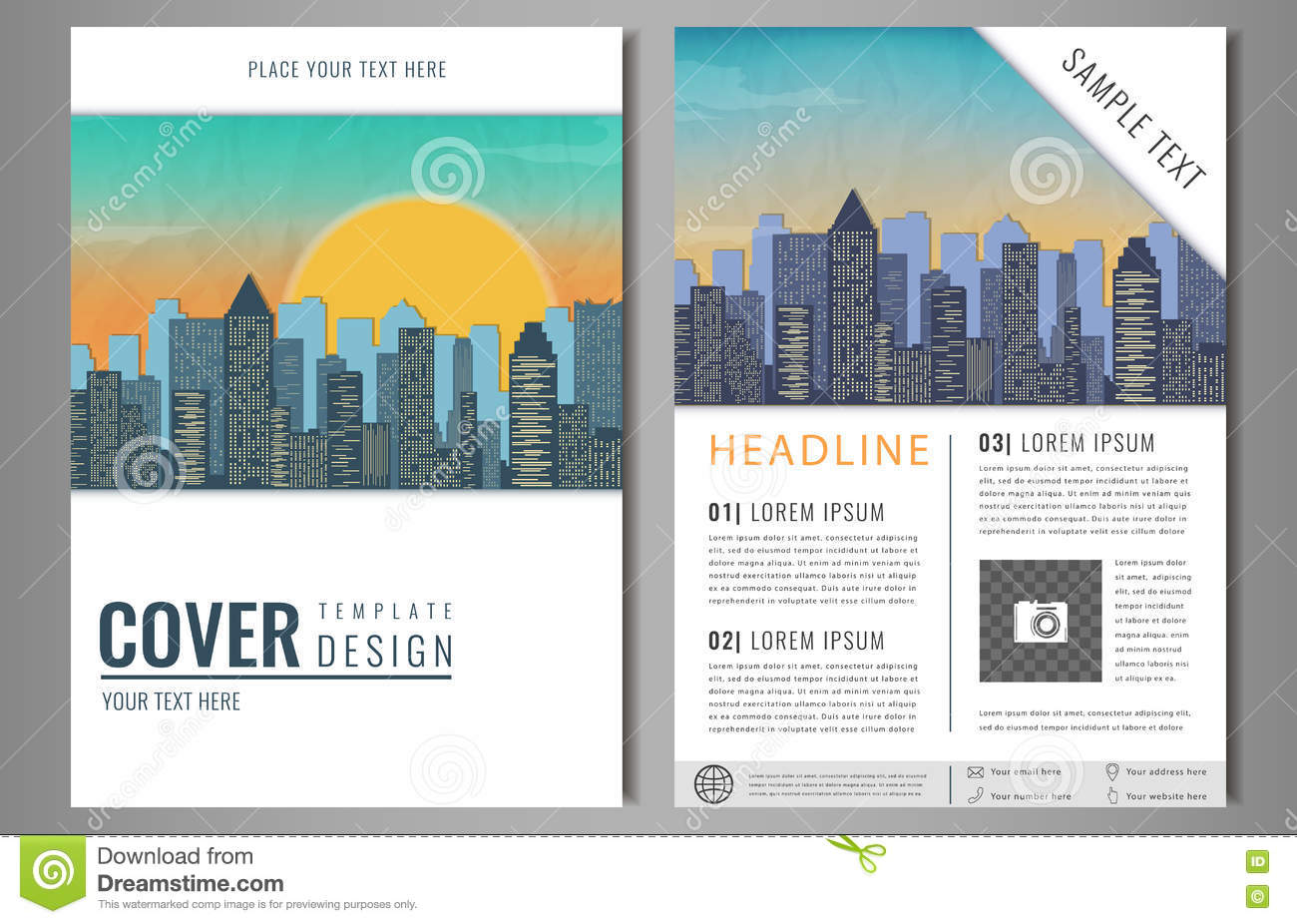 Vector Brochure Flyer Design With City Landscape. Layout Template ...