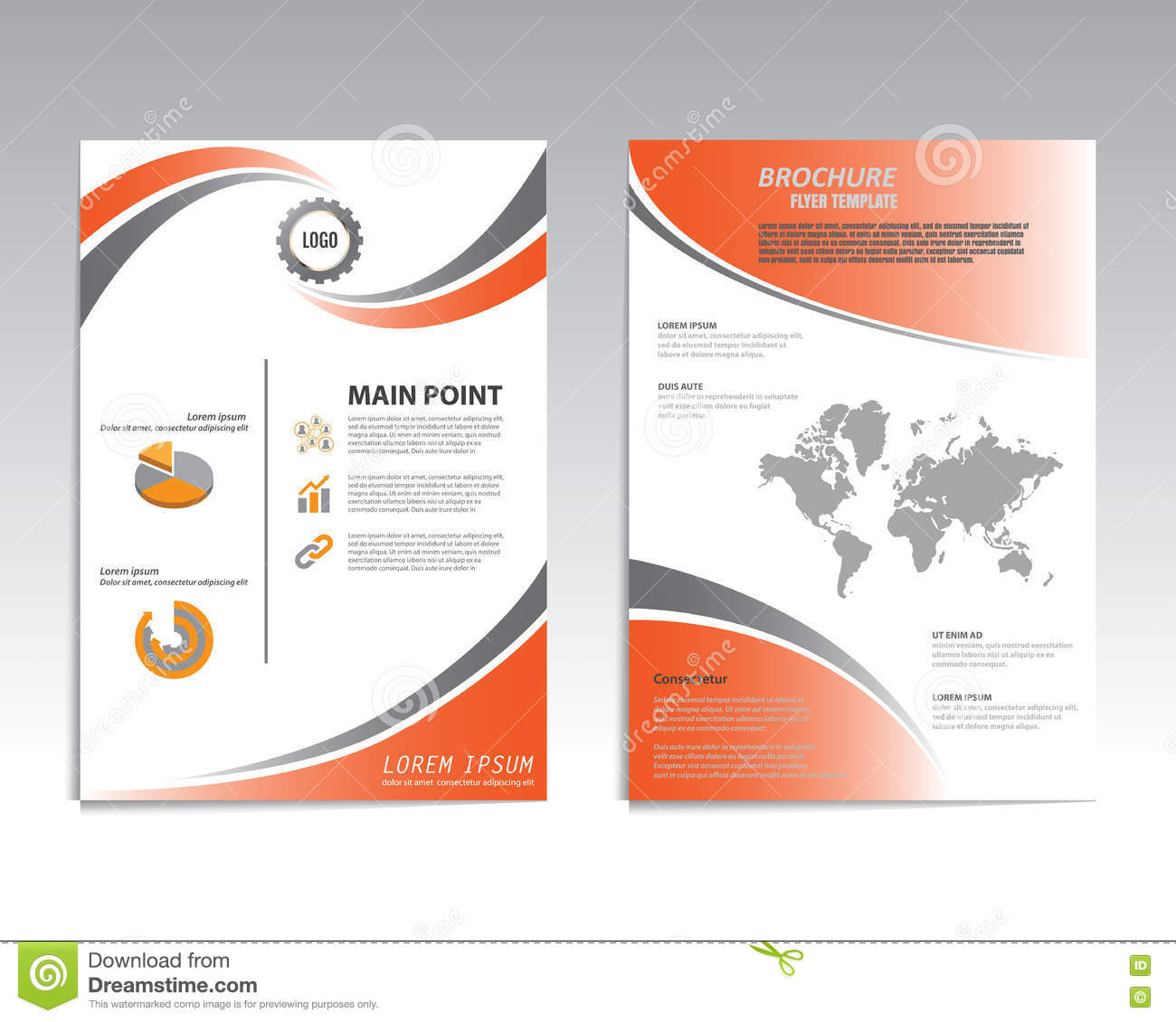 Vector brochure flyer design layout template size a4 for Brochure template for pages