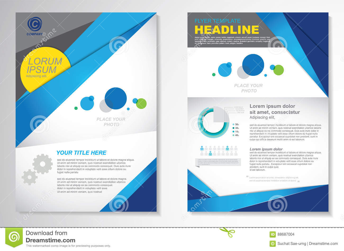 Vector Brochure Flyer Design Layout Template, Size A4, Front Page ...