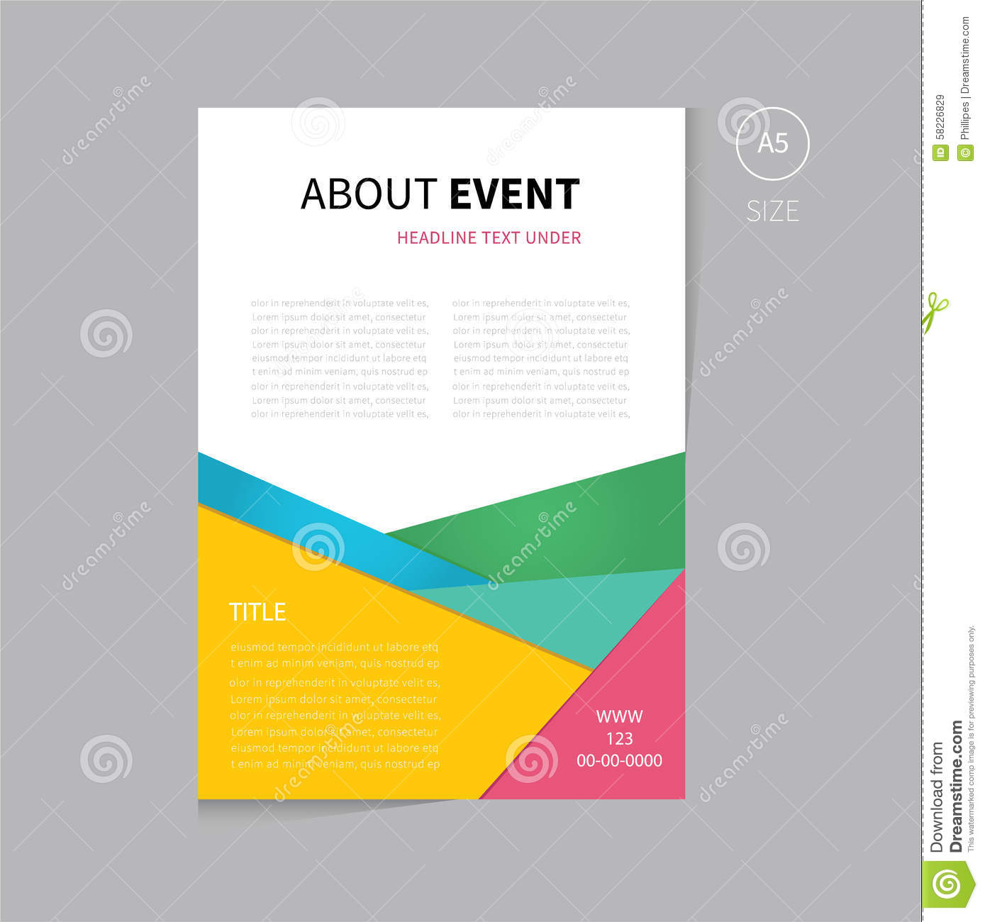 Vector brochure flyer template design a5 size stock vector for Free flyer brochure templates