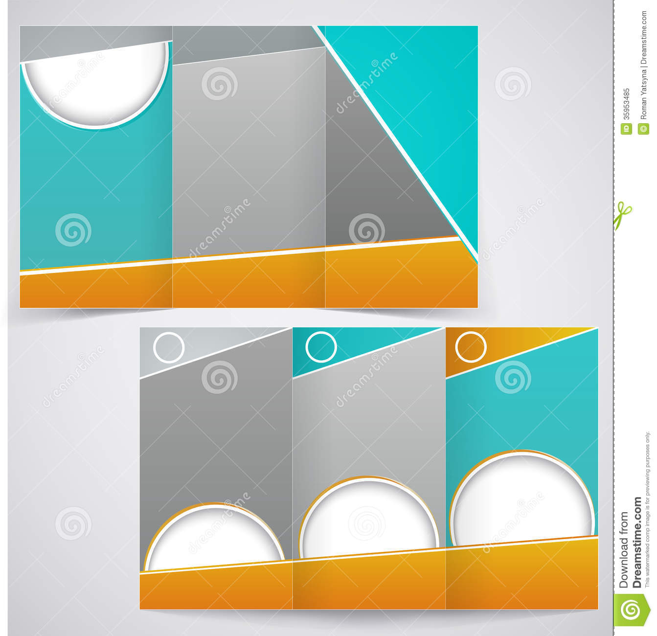 3 folded brochure template - vector brochure layout design with green and yello stock