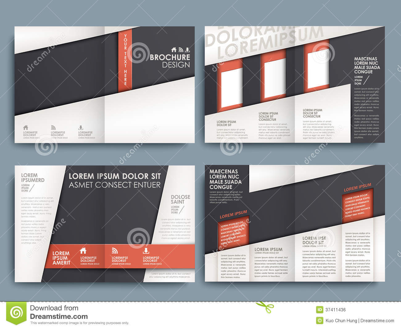 brochure design layout ideas - vector brochure layout design template stock vector