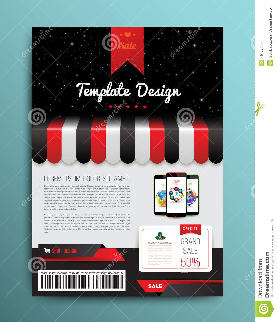 vector brochure template design with shop and smartphone stock