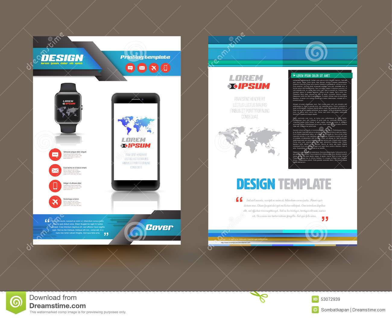 Vector brochure template design for technology product for Technology brochure templates
