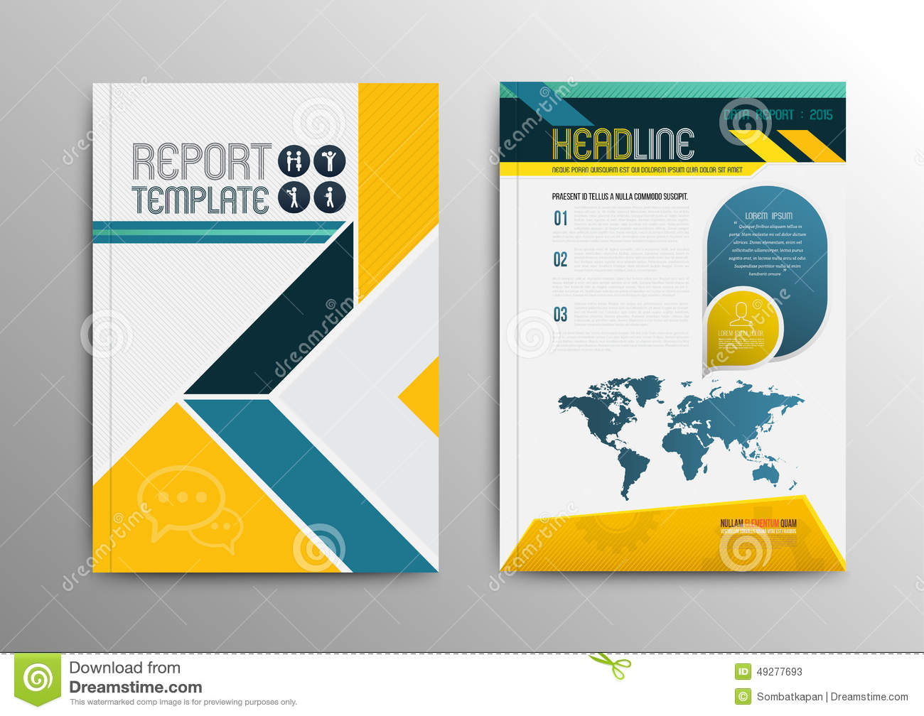 vector brochure template design with world map stock vector
