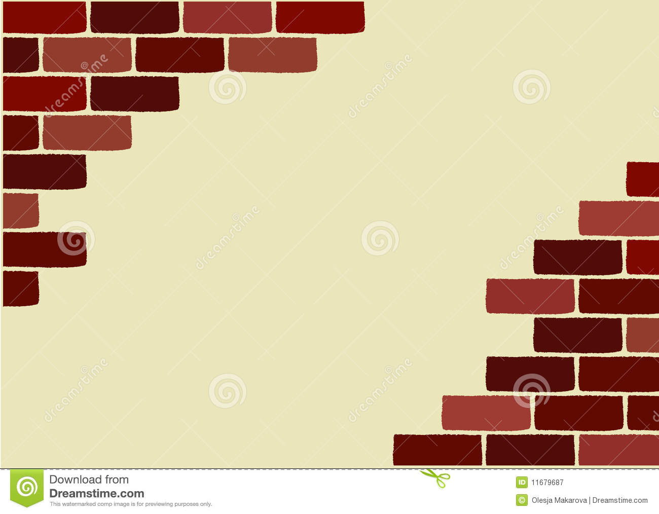 Vector broken brick wall stock vector. Illustration of material ...