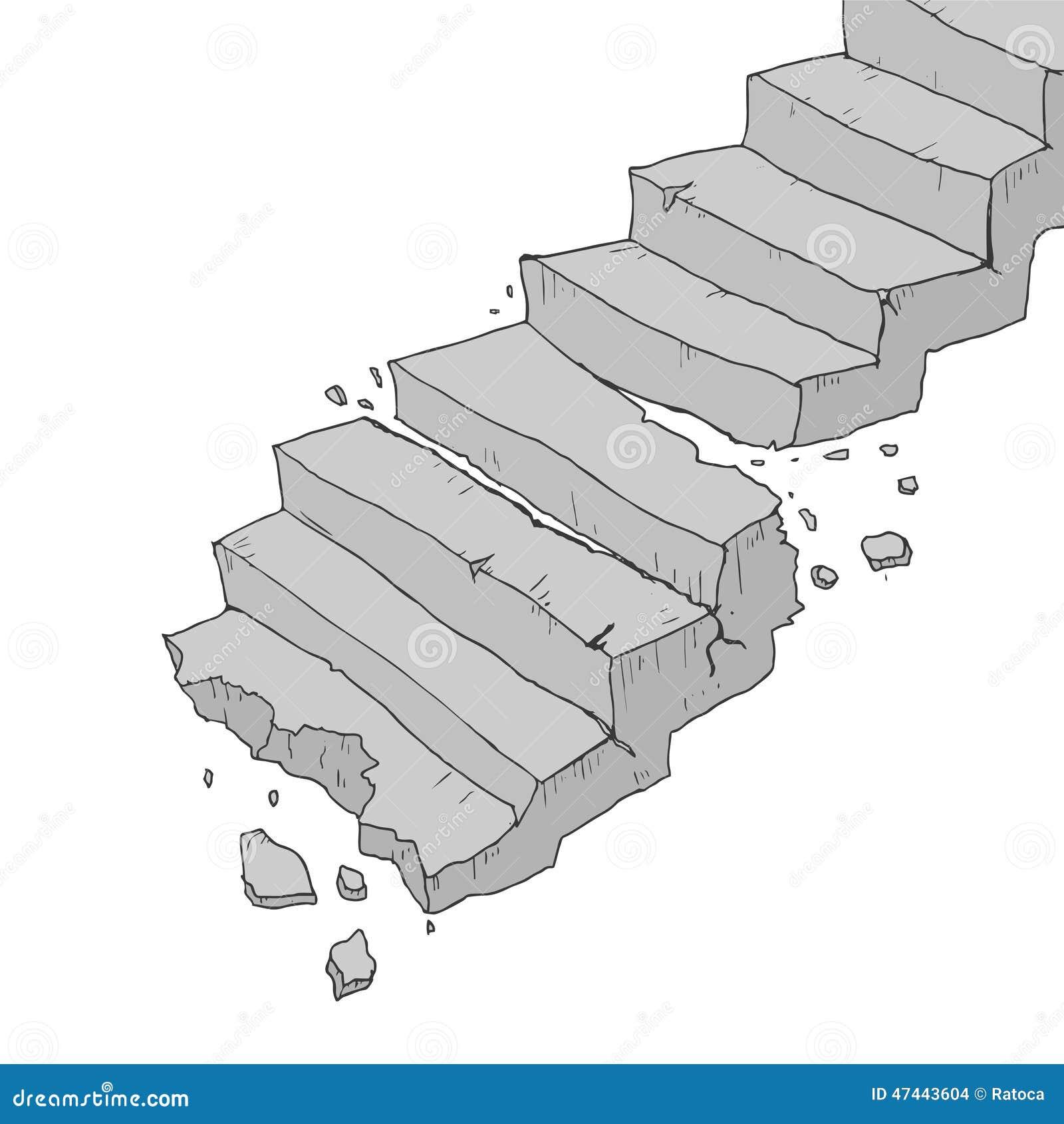 Vector Broken Stairs Stock Vector - Image: 47443604