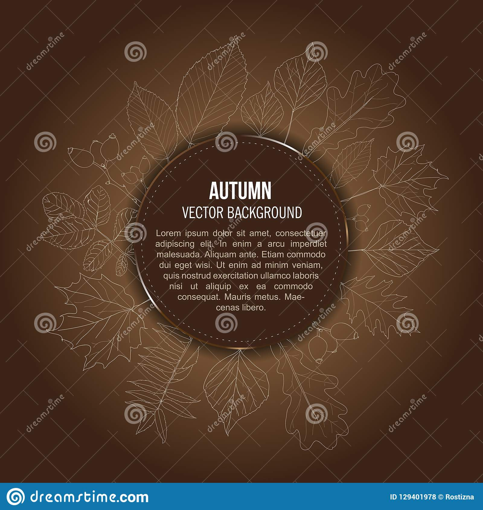 Vector brown autumn background with outlines of leaves. And place for text vector illustration