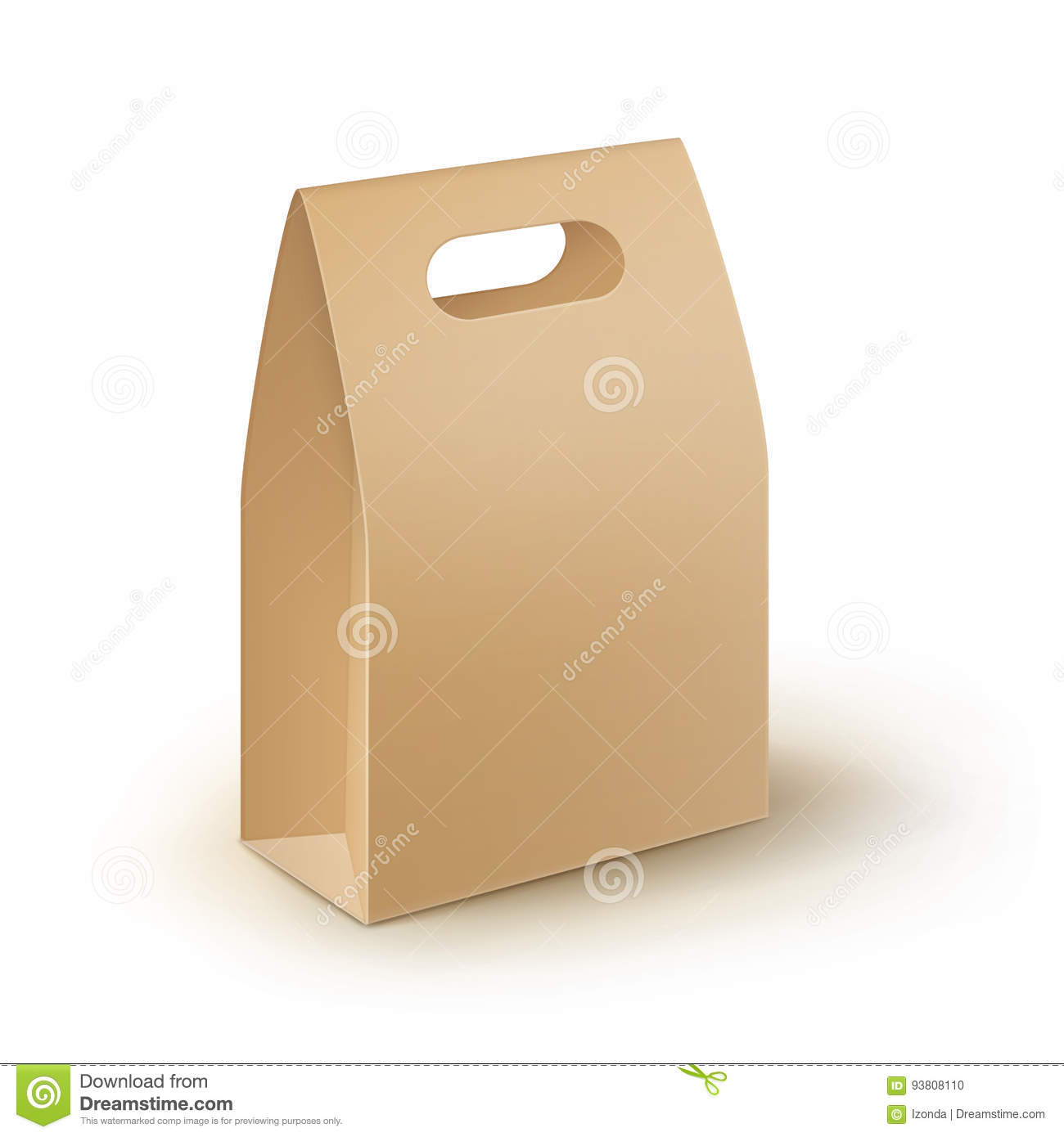 Vector Brown Blank Cardboard Rectangle Take Away Handle Lunch Box Packaging For Sandwich, Food, Gift, Other Products