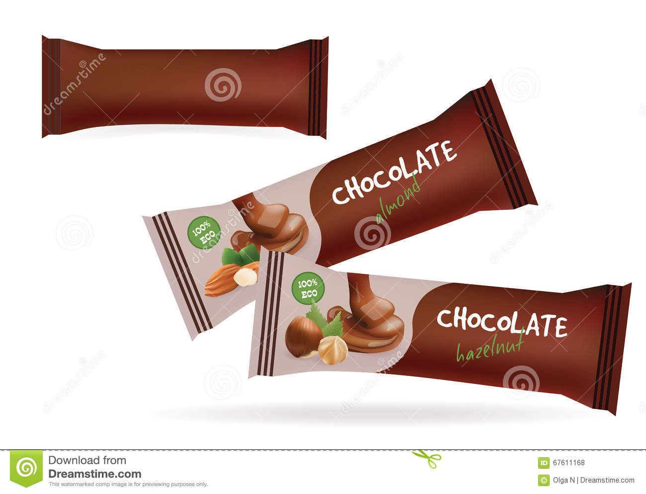 Chocolate packaging template images for Food bar packaging
