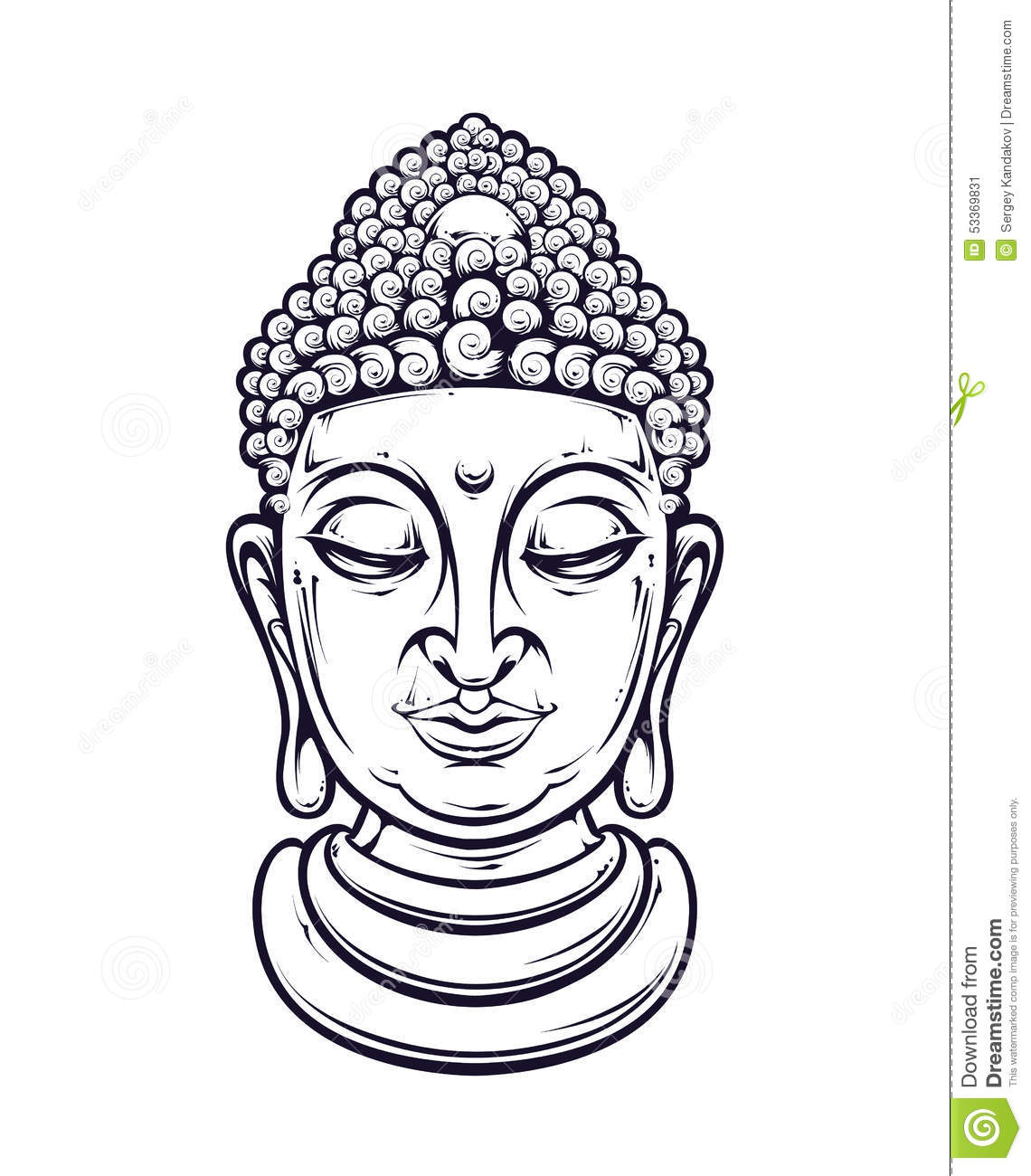 Buddha Face Line Drawing : Buddha head drawing stock vector face black line
