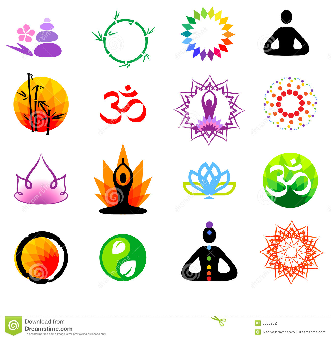 Set Of Yoga And Spa Logo Vector:  Vector Buddhism Icons Stock Vector . Illustration Of Flower