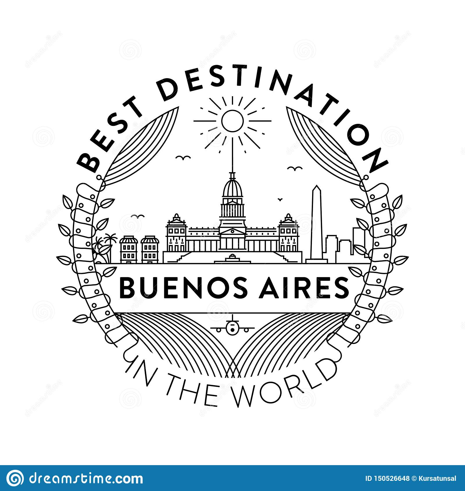 Vector Buenos Aires City Badge, Linear Style