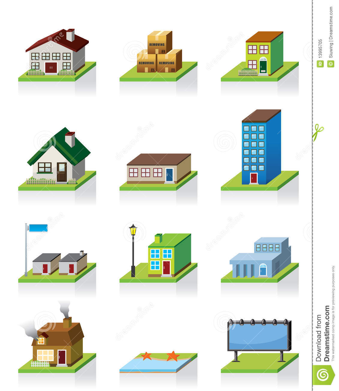 Vector building icon stock vector illustration of door for Build house online 3d free