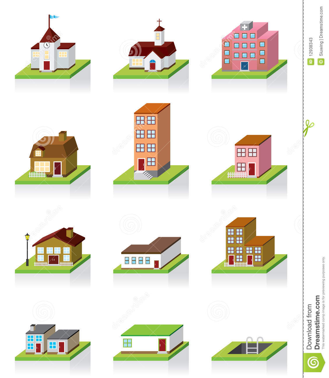 Vector Building Icon 3d Illustration Stock Vector