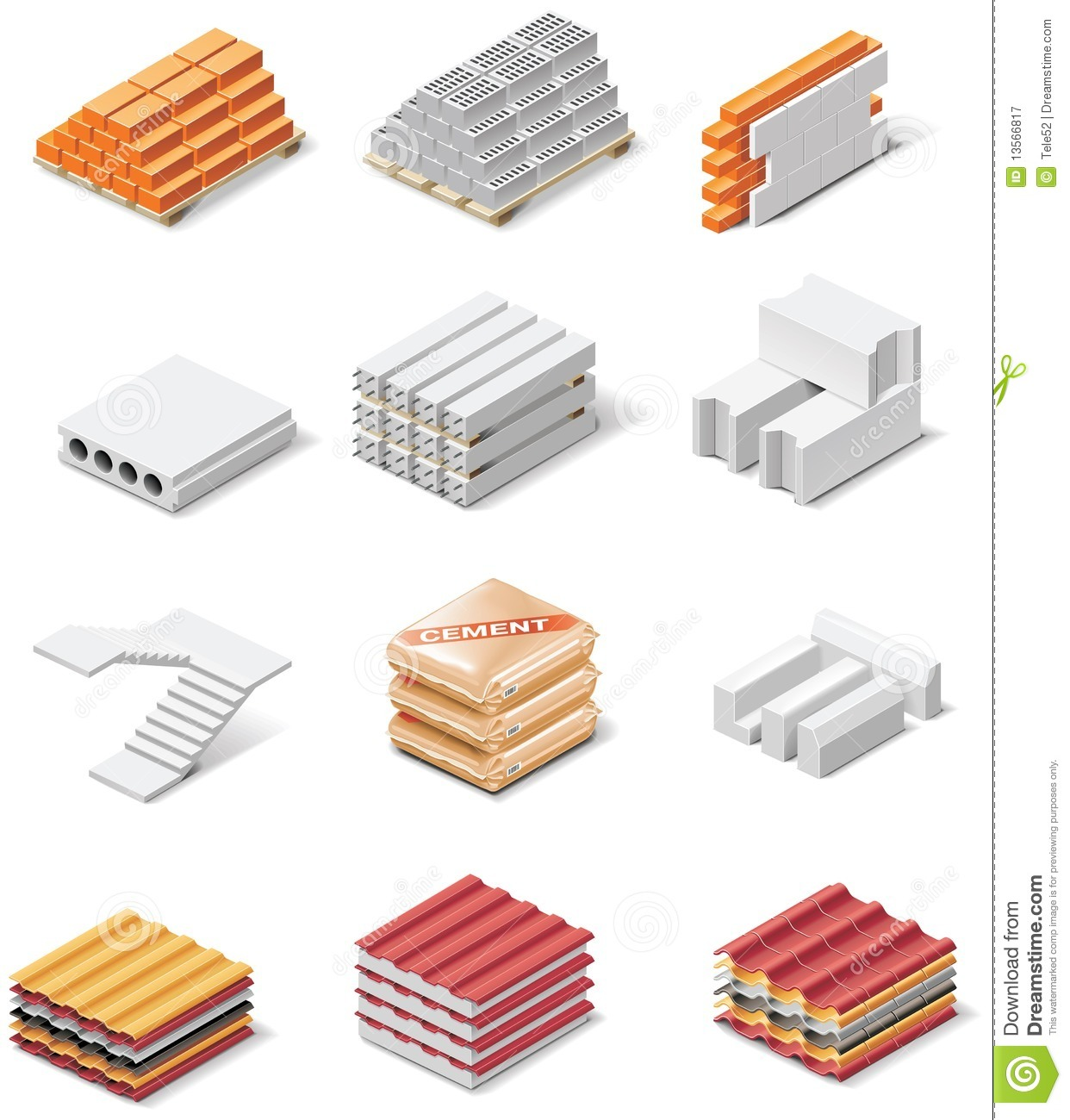 Vector Building Products Icons Part 1 Concrete Royalty