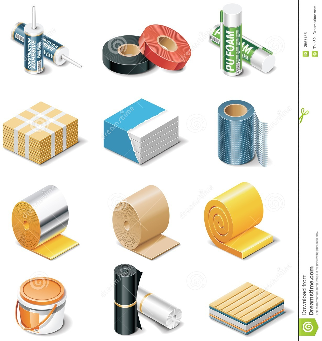 Vector building products icons part 2 insulation stock for Roofing product