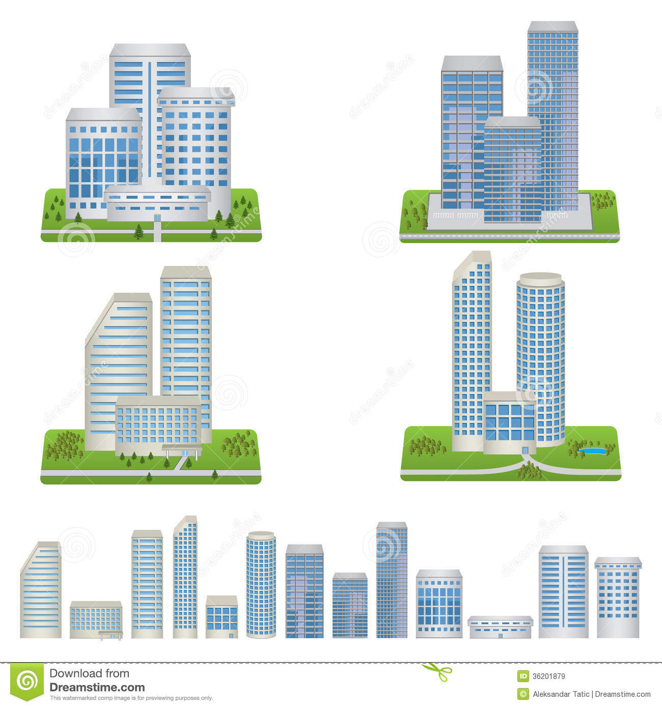 Vector Buildings Set Royalty Free Stock Images Image