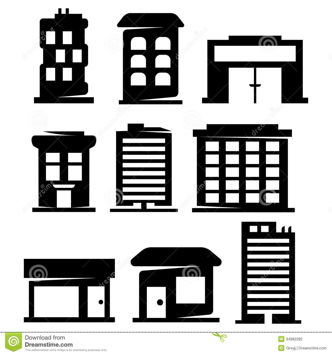 Vector Buildings Silhouettes Stock Photography Image 34982282