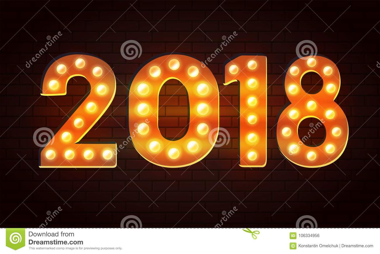 vector 2018 from bulb happy new year background with lighting effect on the wall