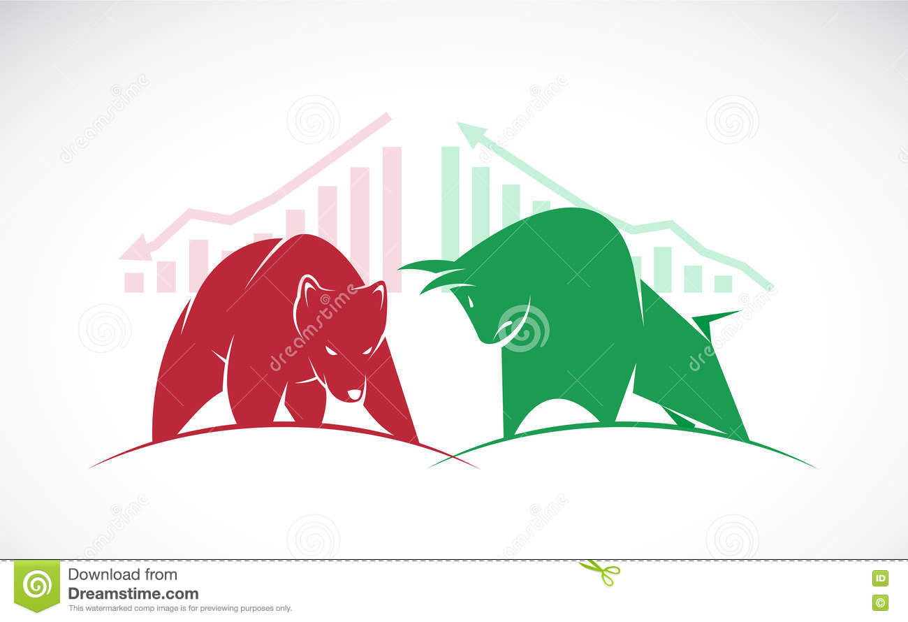 Vector Of Bull And Bear Symbols Of Stock Market Trends Stock Vector