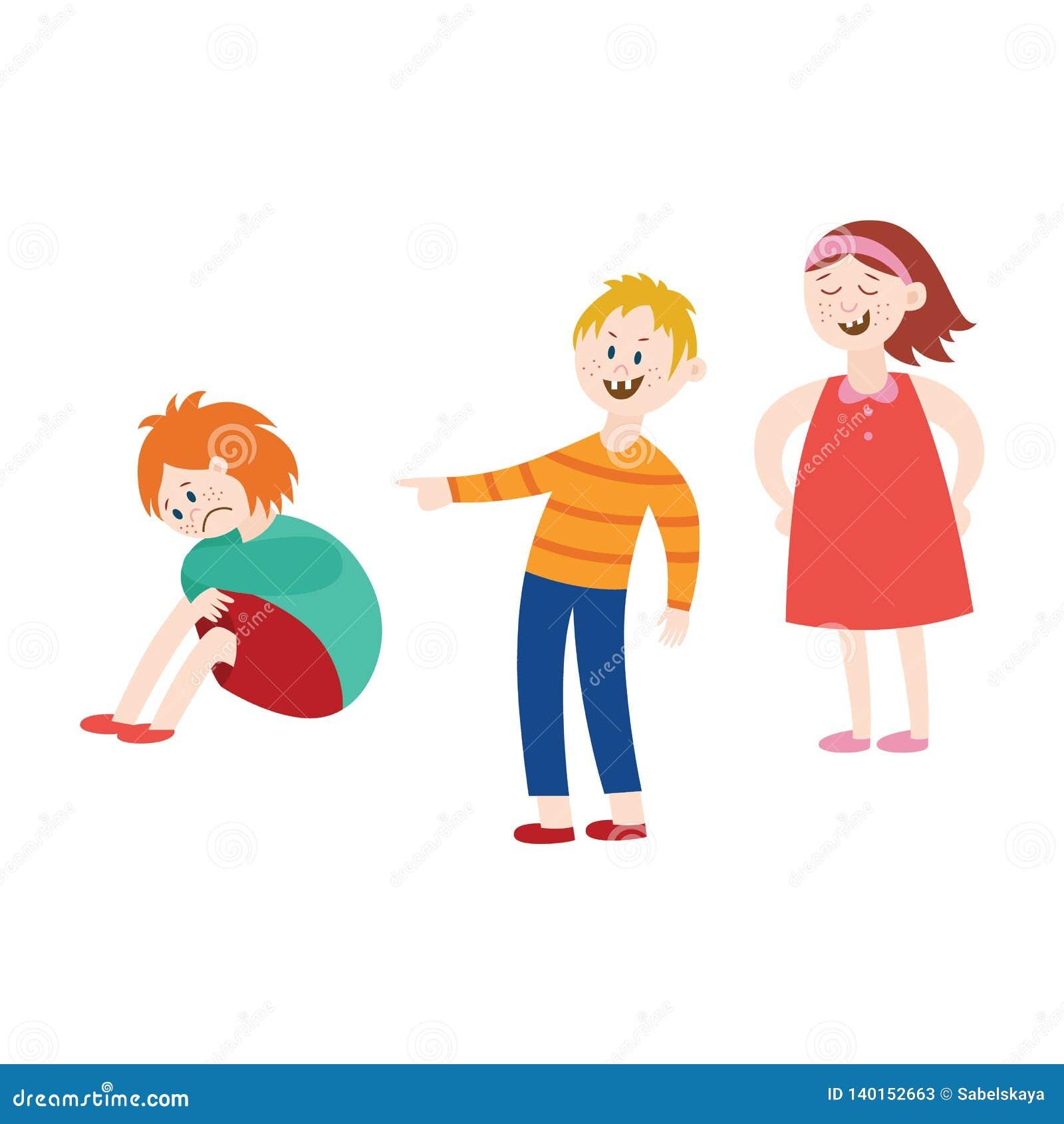 Vector bullying of child boy sitting alone flat