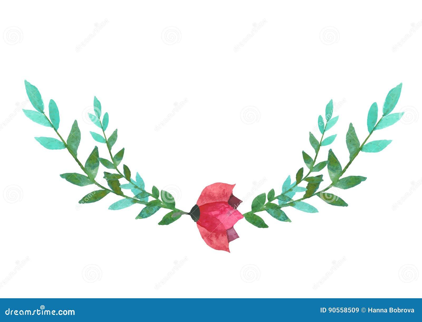 Vector Buntes Purpurrotes Florenelement Mit Den Blattern Und Blumen