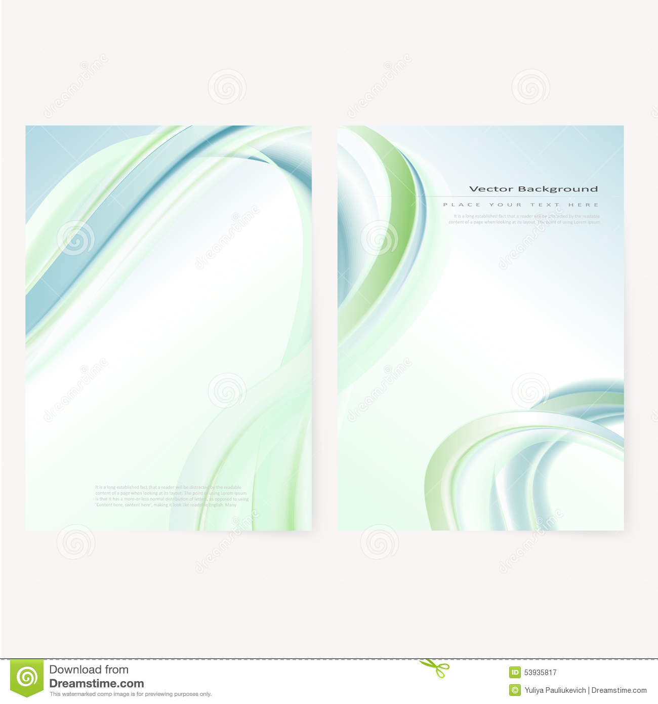 Front And Back Business Flyer Template Blank Whith Transparent Strip Waves