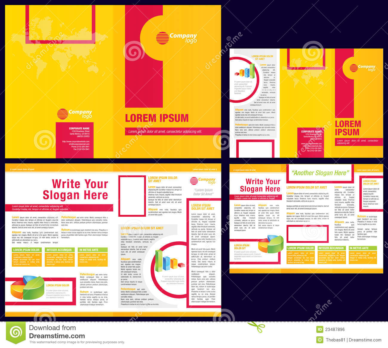 Vector business brochure tri fold flyer template royalty for Free flyer brochure templates