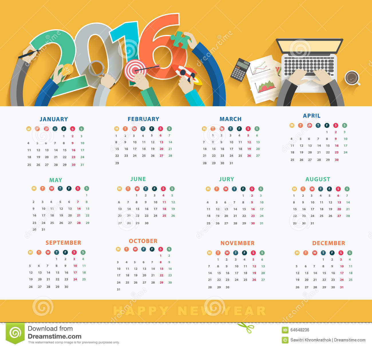 Calendar Design Free Vector : Vector business calendar stock illustration