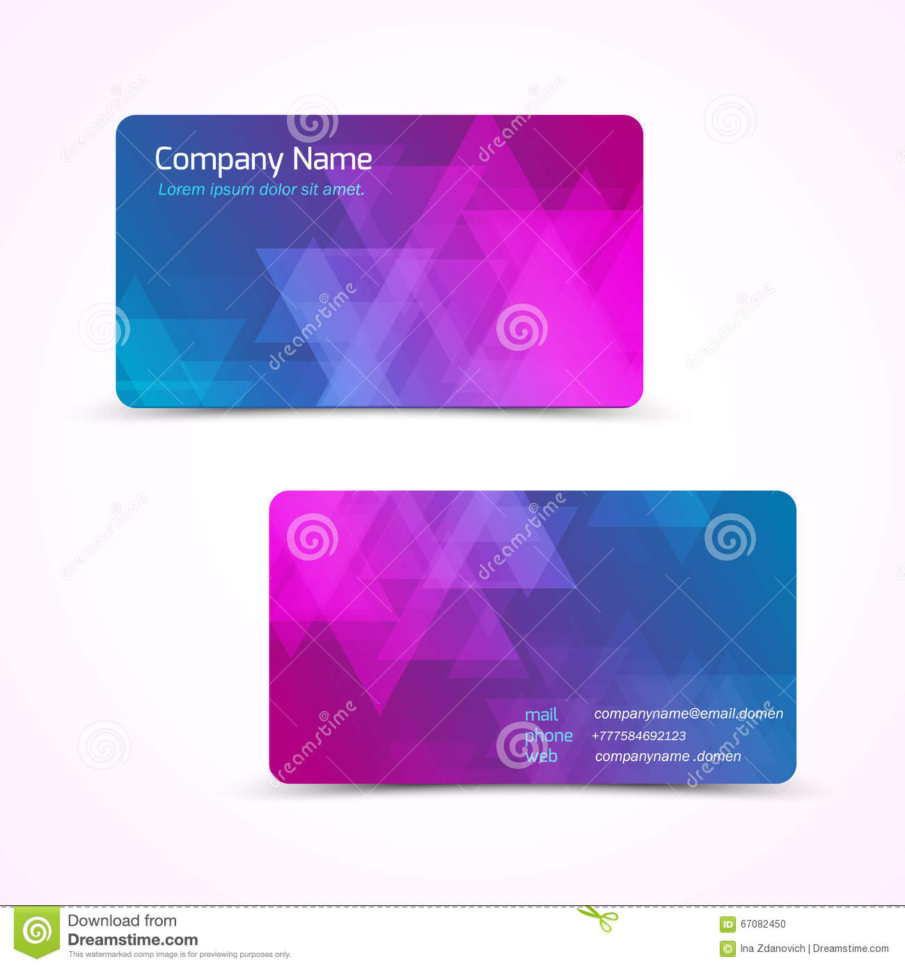 Vector Business Card With Abstract Polygonal Background Stock ...