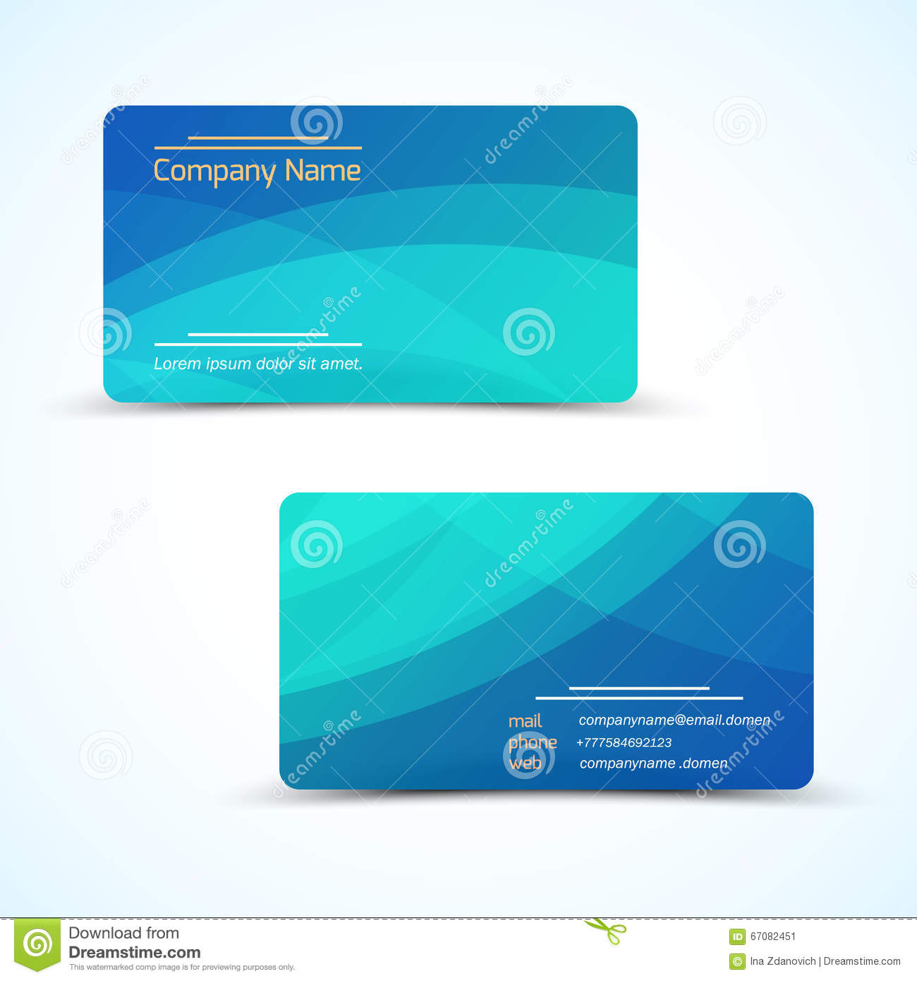 Vector Business Card With Abstract Wave Background Stock Vector ...