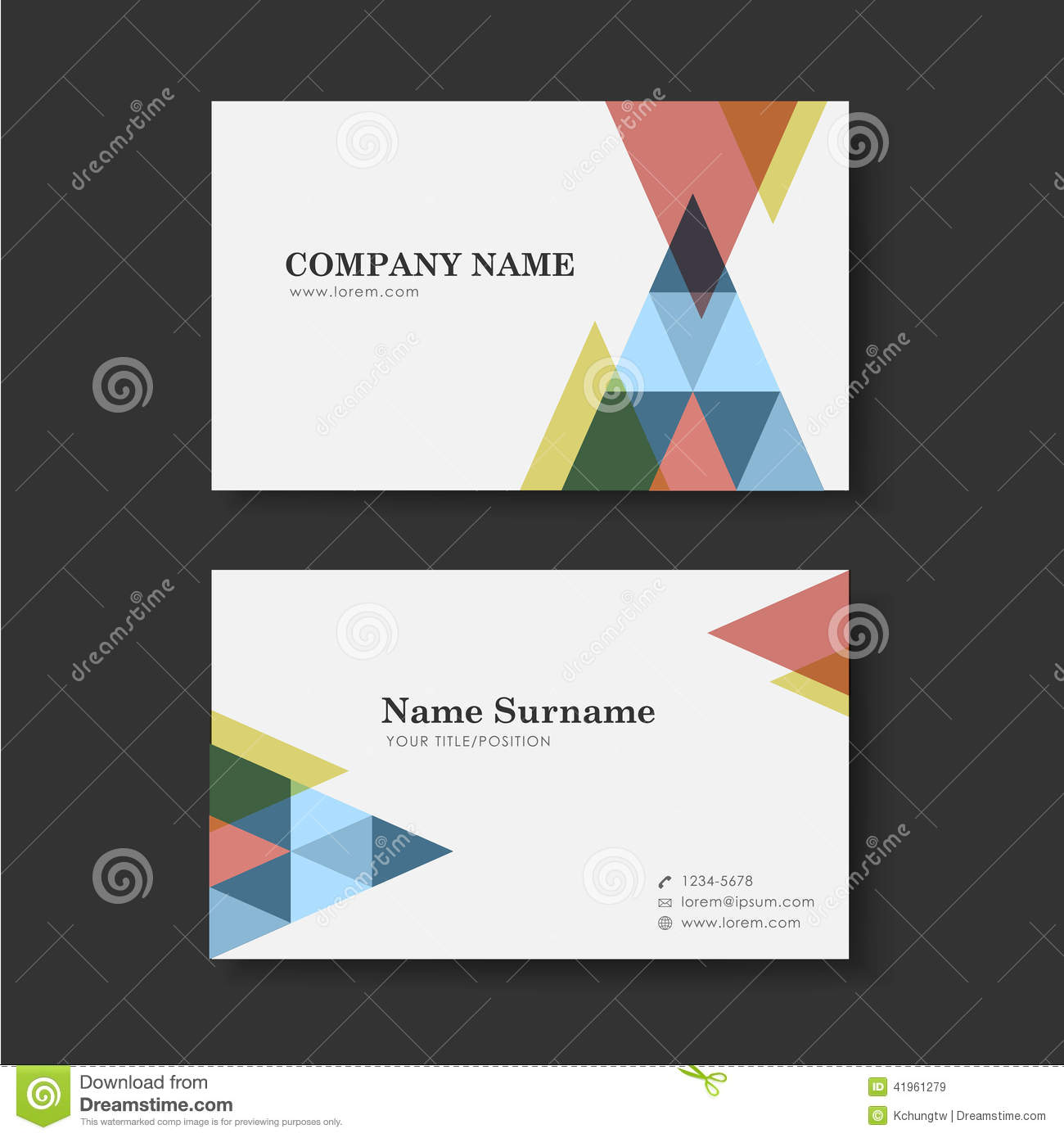 vector business card design template of triangle stock vector image 41961279. Black Bedroom Furniture Sets. Home Design Ideas