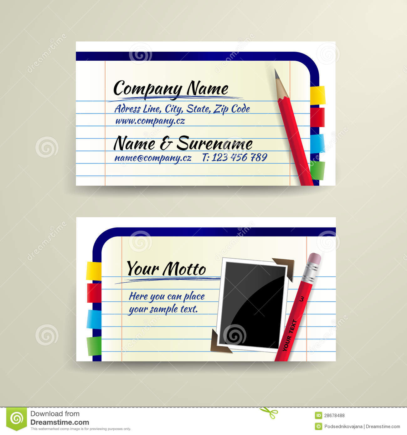 Vector Business Card With Pencil And Notebook Stock Vector ...