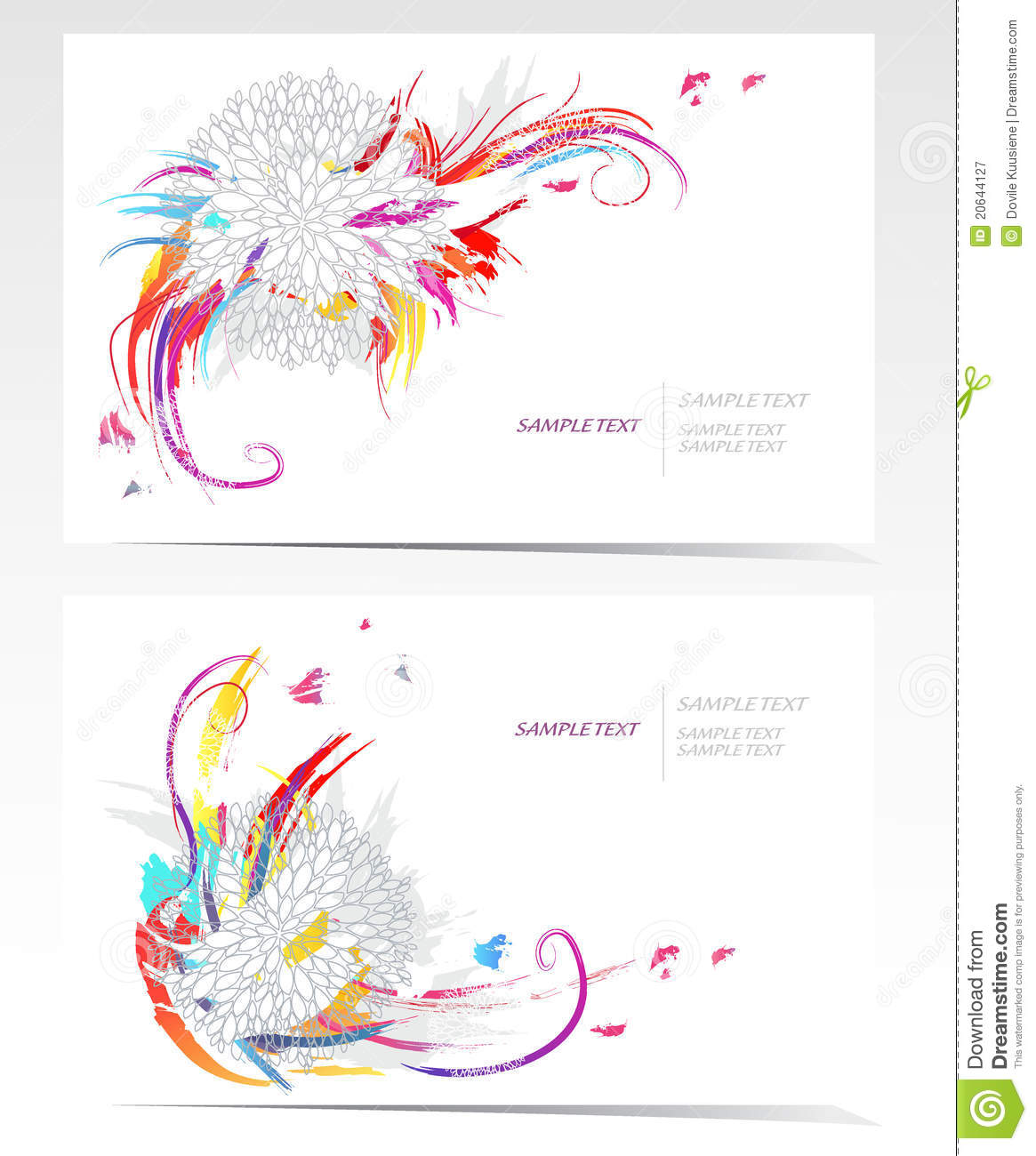 Vector Business Card Set With Floral Elements Royalty Free
