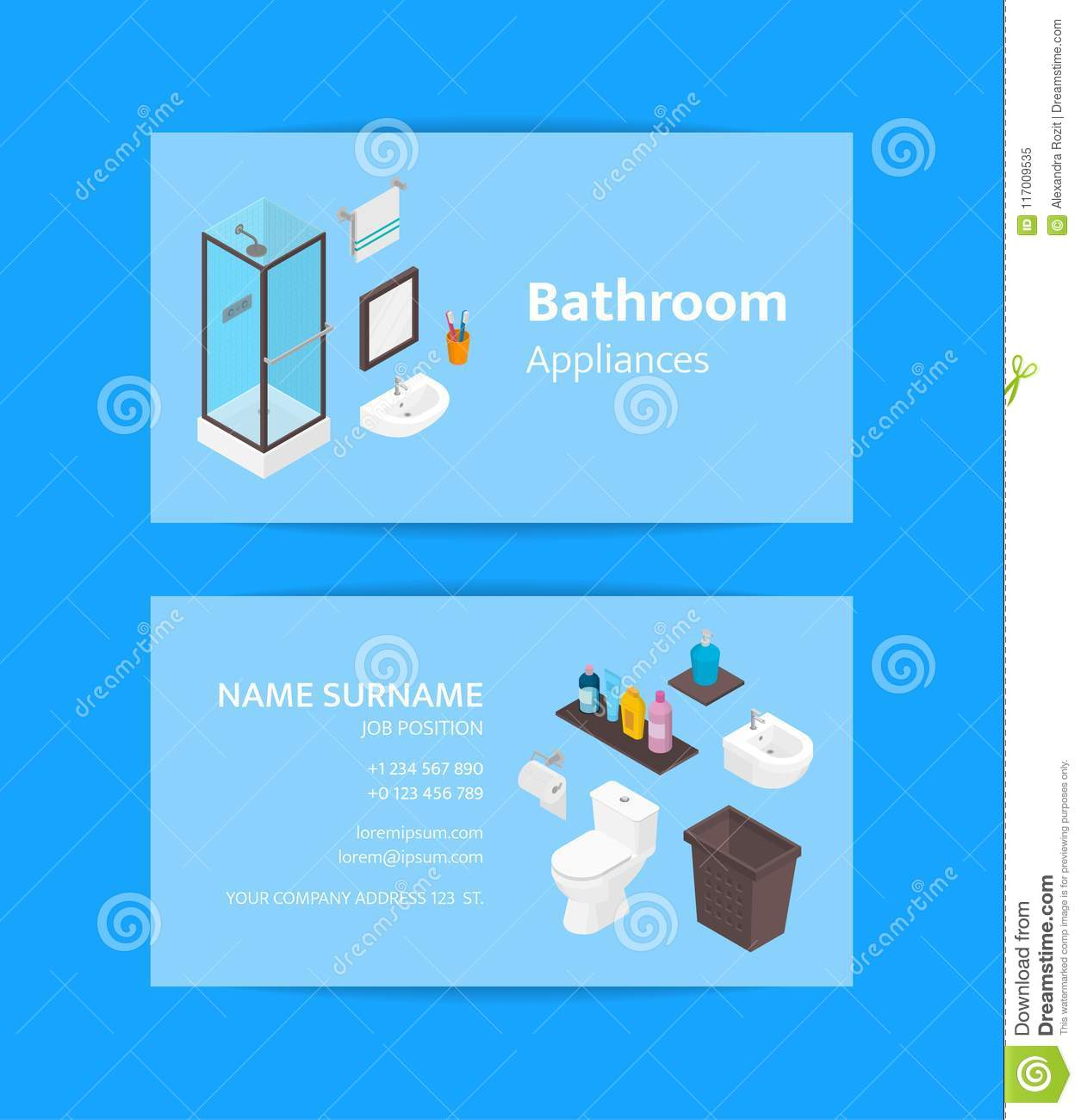 Vector Business Card Template For Bathroom Appliances And