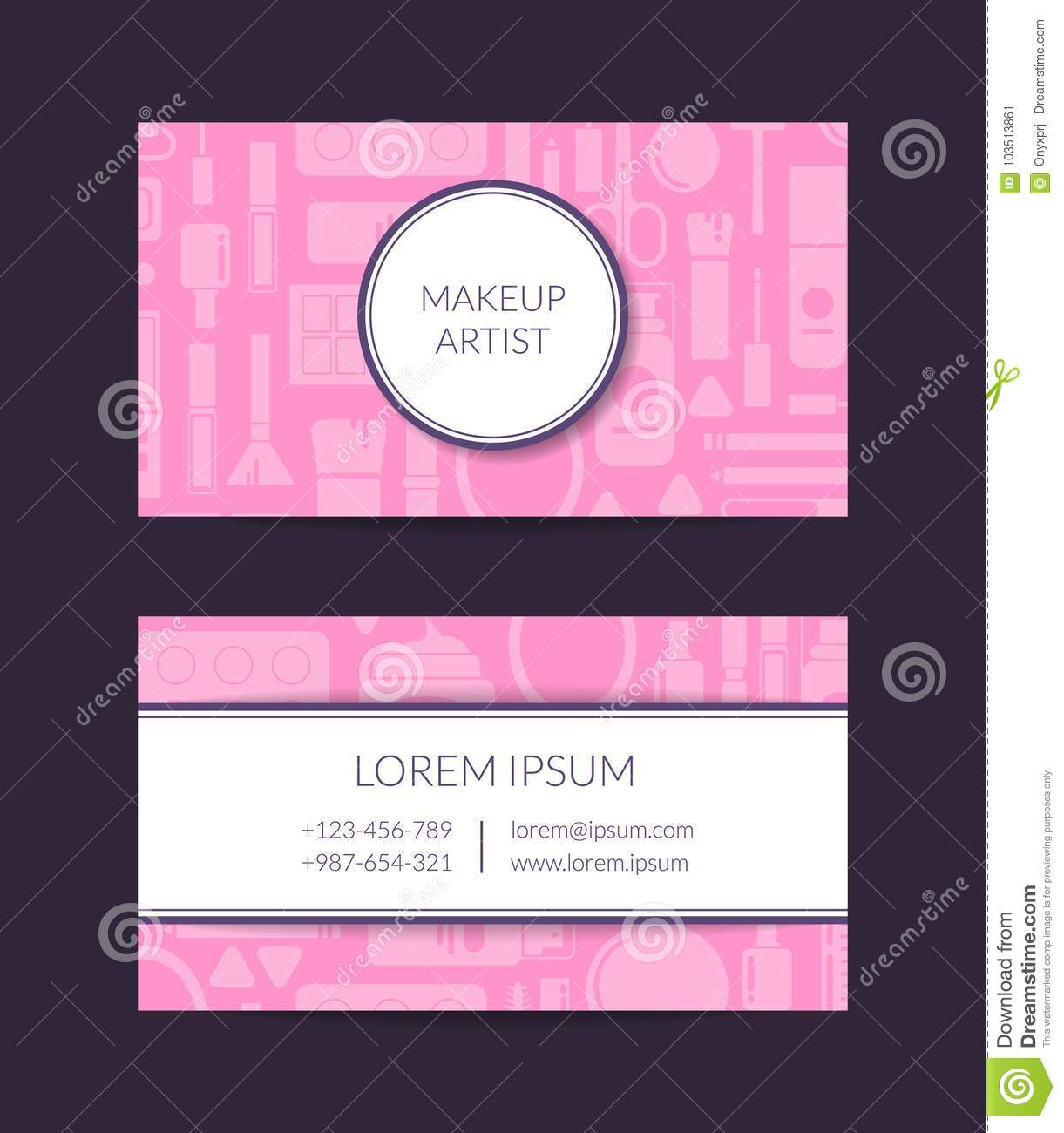 Vector business card template for beauty brand or makeup artist with vector business card template for beauty brand or makeup artist with flat style makeup and skincare with circle rectangle stripes and shadows illustration colourmoves