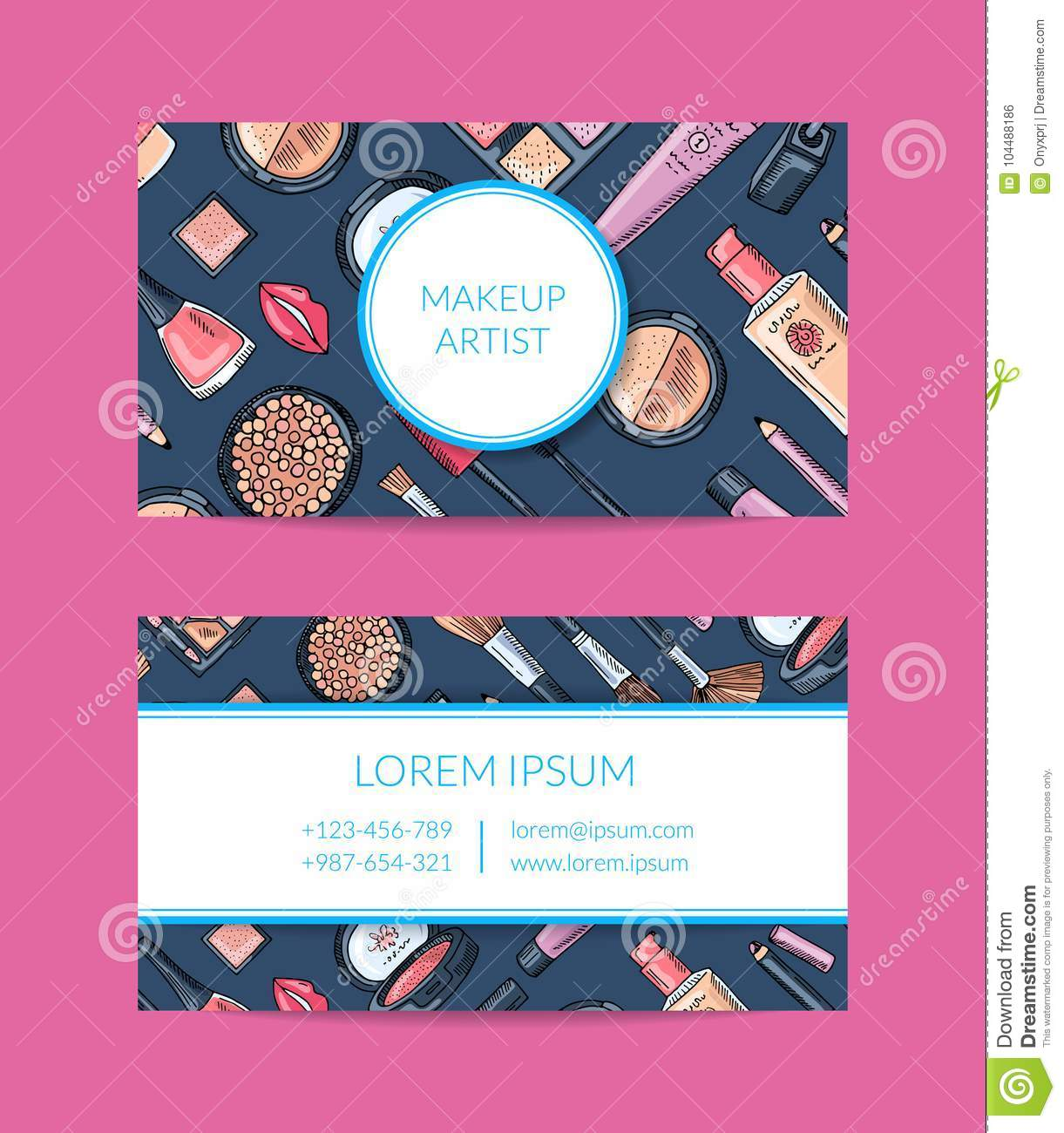 Vector Business Card Template For Beauty Brand Or Makeup Artist With