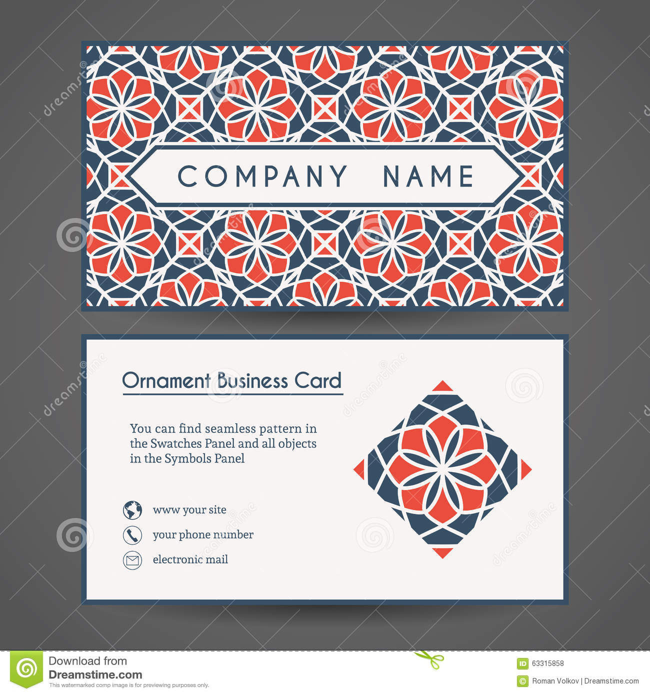 Vector Business Card Template Stock Vector - Image: 63315858